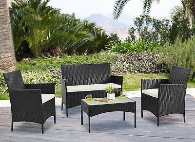 AU299.99 • Buy 4pc Lounger Set Outdoor Furniture Rattan Wicker Chair Sofa Table Garden Patio