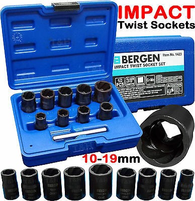 BERGEN IMPACT Twist Socket Set Locking Wheel Nut Remover Nut Bolt Stud Extractor • 19.95£