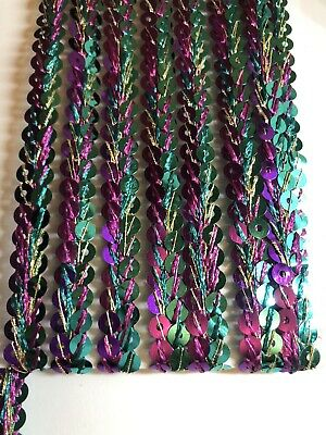 £1.99 • Buy B5) Ribbon  1 Yard 10mm Two Colour Sequin Chain Trim Sewing Craft Haberdashery