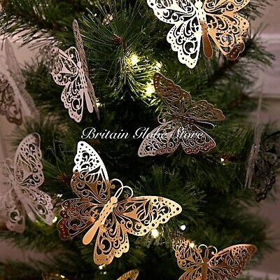 12 PCS Christmas Tree Topper  Butterfly Decoration Card Baubles Wedding Ornament • 5.80£