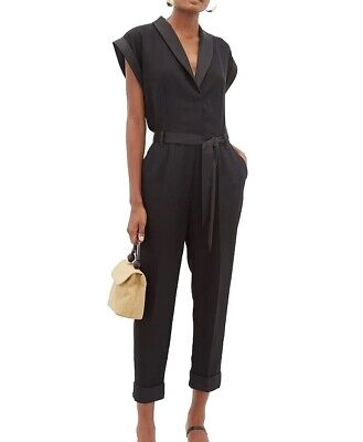 $159.99 • Buy Frame Womens Jumpsuit Black Size Small S Tuxedo Tapered Leg Belted $525 352