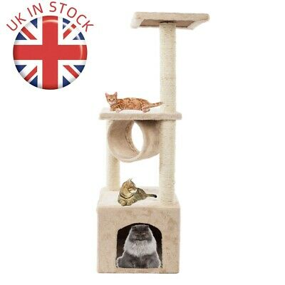Sisal Rope  Cat Tree Scratching Tower House Activity Center Post Climbing Tree • 19£