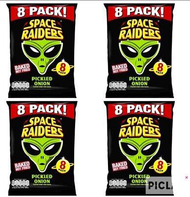 32 X Packs Space Raiders Crisps Pickled Onion 32 X11.8g Everyone Favourite Snack • 11.99£