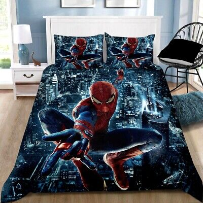 AU40.99 • Buy Quilt Duvet Doona Cover + Pillowcase Bedding Set - Spiderman