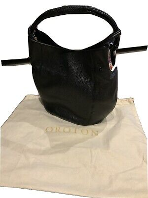 AU85 • Buy OROTON Black Leather Kiera Hobo Bag. New Condition.