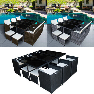 9/11 Pieces Rattan Garden Furniture Set Cube Dining Chair And Table Outdoor • 449.99£