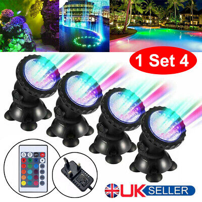 1 Set 4 Lights RGB LED Underwater Spot Light  Aquarium Garden Fountain Pond Lamp • 18.27£