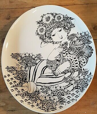 Gorgeous Bjorn Wiinblad Rosenthal Large Oval Plate. Woman With Bird. Mid Century • 41£