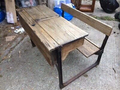 Vintage Double School Desk And Fixed Bench • 115£