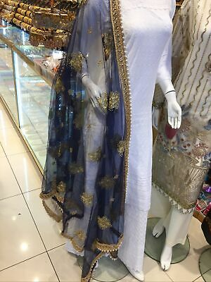 £20 • Buy Fancy Net Dupatta / Scarf With Gota Lace And Pearl Full Size Colour Navy Montana