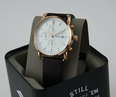 $ CDN101 • Buy New Authentic Fossil The Commuter Chronograph Rose Gold Brown Men Fs5476 Watch