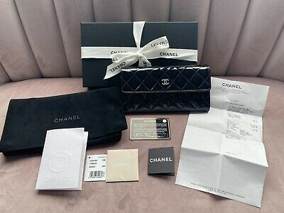 AU1000 • Buy Chanel Patent Black Leather Wallet With Silver Hardware
