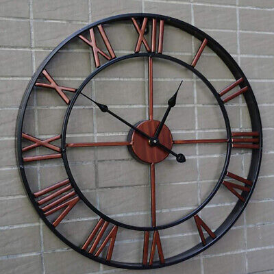 Metal Large Wall Clock Big Skeleton In/Outdoor Open Face Round Garden Decor Red  • 10.95£