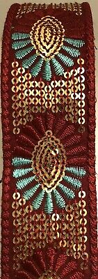 £2.99 • Buy B5) 1 Meter 35mm Maroon Turquoise Floral Embroidery Sewing Craft Haberdashery