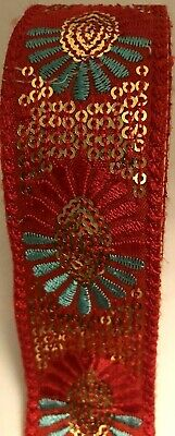 £2.99 • Buy B5)1 Meter 35mm Sewing Craft Floral Red& Blue Embroidery Sequin Haberdashery