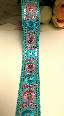£2.99 • Buy B5) 1 Meter 35mm Sewing Craft Floral Red& Blue Embroidery Sequin Haberdashery
