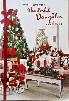 Wonderful Daughter Christmas Card ~ Decorations Design  Large Size Quality Card  • 2.99£