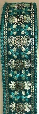 £2.99 • Buy B5)1 Meter 35mm Sewing Craft Floral Turquoise  Embroidery Sequin Haberdashery