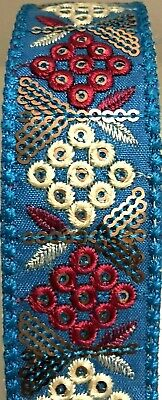£2.99 • Buy B5) 1 Meter 35mm Red & Blue Floral Embroidery Sewing Craft Haberdashery