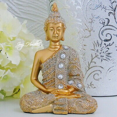 THAI BUDDHA Ornament Gold Glitter Statue MEDITATING Figurine Sculpture 16 Cm • 13.90£