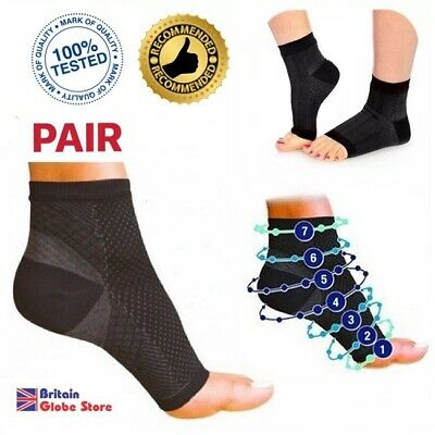 Pair Ankle Support Compression Sock For Plantar Fasciitis Pain Relief Recovery • 3.20£