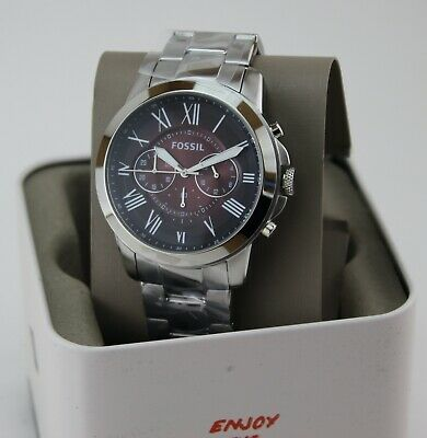 $ CDN88.37 • Buy New Authentic Fossil Grant Silver Burgundy Chronograph Men's Fs5628 Watch