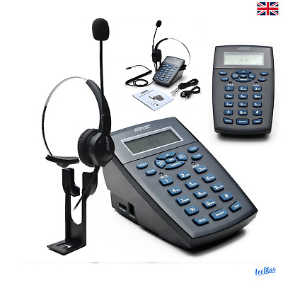 Corded Hands-Free Call Center Headset Telephone With Dialpad Noise Cancelling UK • 33.19£