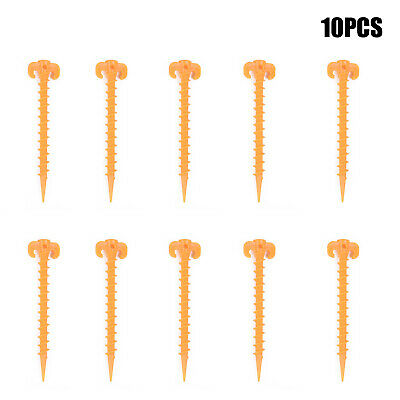 Strong Plastic Camping Awning Tent Groundsheet Pegs Screw Spiral Pack Of 10PCS • 6.77£