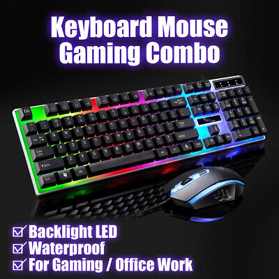 Keyboard Mouse Combo Set LED Backlight PS/2 Gaming PC Laptop Wired  #p • 16.08£