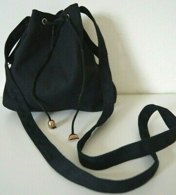 Ladies Black Linen Cotton Cross Body Purse Shoulder Bag With Tie Strings NEW • 2.99£