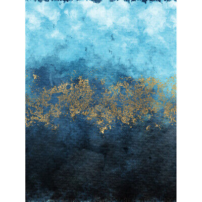 £12.99 • Buy Abstract Blue And Gold Watercolour Print Canvas Premium Wall Decor Poster