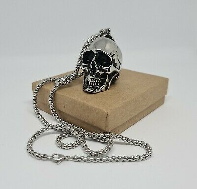 Large Skull Pendant Chain Necklace Stainless Steel Punk Gothic Biker Heavy 105g • 19.95£