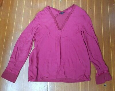 AU15 • Buy Fab Red Long Sleeved Massimo Dutti Top Size M