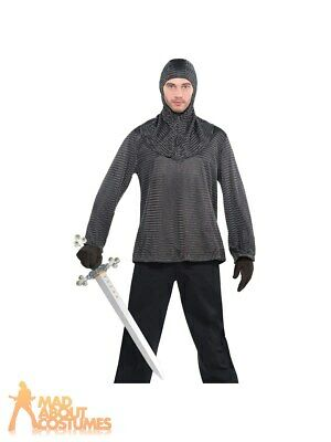 Adult Warrior Chain Mail Tunic + Hood Medieval Knight Mens Fancy Dress Outfit • 16.99£