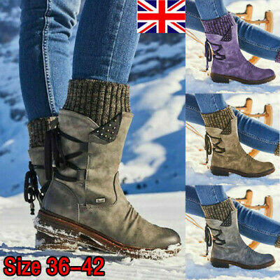 Womens Ladies Winter Mid Calf Lace Up Knitted Low Flat Heel Shoes Boots Size Uk • 19.99£