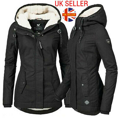 Womens Fur Lined Jacket Coats Ladies Outerwear Winter Super Warm Parka Overcoat • 27.79£