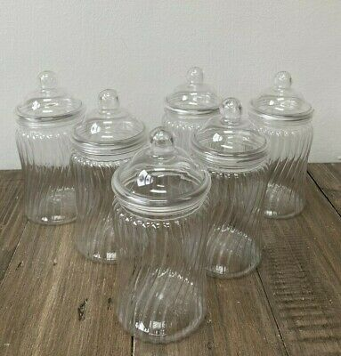 £10.49 • Buy Small Party Set Of 6 Spiral Sweet Jars With Lids 450ml 17cm Tall