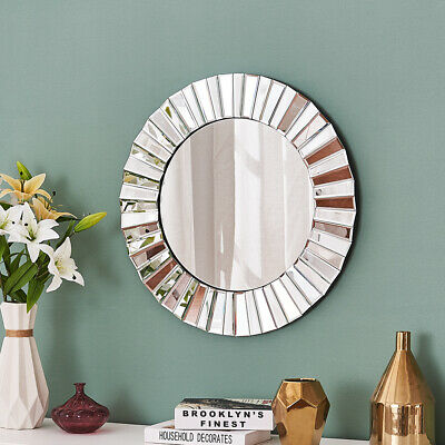 Large Sunburst Round Wall Mirror Silver Glass Home Decor For Bedroom Living Room • 62.99£