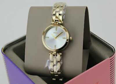 $ CDN76.11 • Buy New Authentic Fossil Caila Mini Gold Silver Crystals Women's Bq7025 Watch