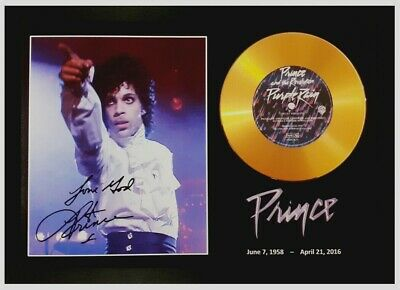 Prince Signed Photo And 'purple Rain' Gold Cd Disc Collectable Memorabilia Gift • 14.99£