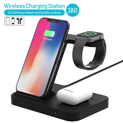 AU33.98 • Buy 3in1 Qi 15W Wireless Charger Fast Charging Stand Dock For IWatch IPhone 11 XS XR
