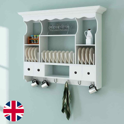 Wall Dish Rack Wooden Kitchen Wall Display Cabinet Mounted Plate Holder Drainer • 380.94£