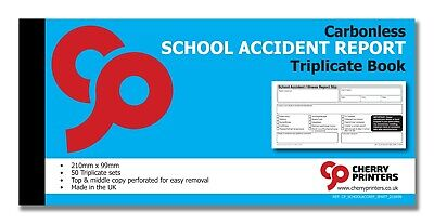 £5.95 • Buy Cherry NCR School Accident Report Triplicate Book 99mm X 210mm 50 Sets
