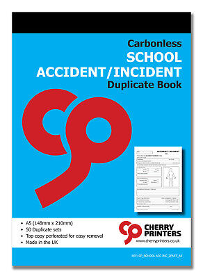 £6.95 • Buy Cherry NCR School Accident/Incident Report Duplicate Book A5 50 Sets