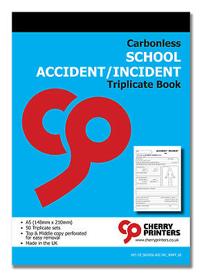 £7.95 • Buy Cherry NCR School Accident/Incident Report Triplicate Book A5 50 Sets