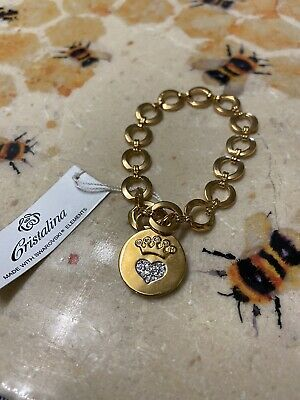 Swarovski Elements Bracelet New Costume Jewellery Gold Chain Bracelet Cristalina • 6£