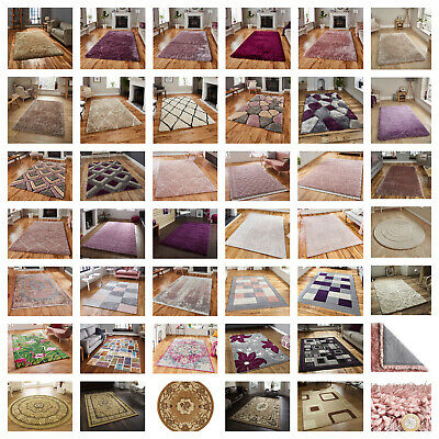 Large Modern Rugs,runners,durable,super Soft,beige,ivory,rose,pink,purple,plum, • 98.99£