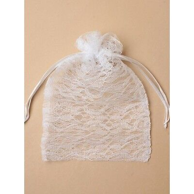 NEW 12 White Lace Drawstring Large Favour Bags Wedding Party Confectionary 22x15 • 4.99£