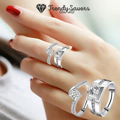 £3.99 • Buy His And Her Rings Eternity Rings Promise Couple Rings 925 Sterling Silver Filled