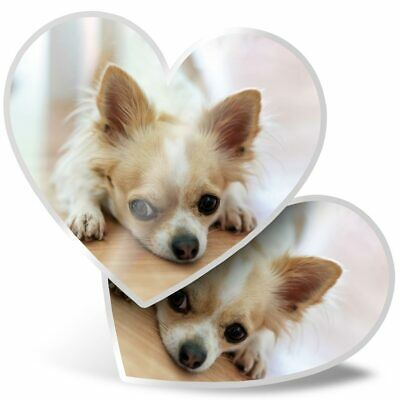 2 X Heart Stickers 10 Cm - Cute Chihuahua Dog Puppy Pet Animal  #24218 • 2.99£